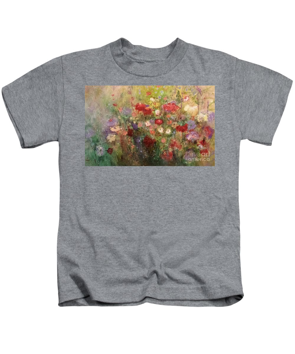 Flowers Kids T-Shirt featuring the painting Nothing But Flowers by Frances Marino