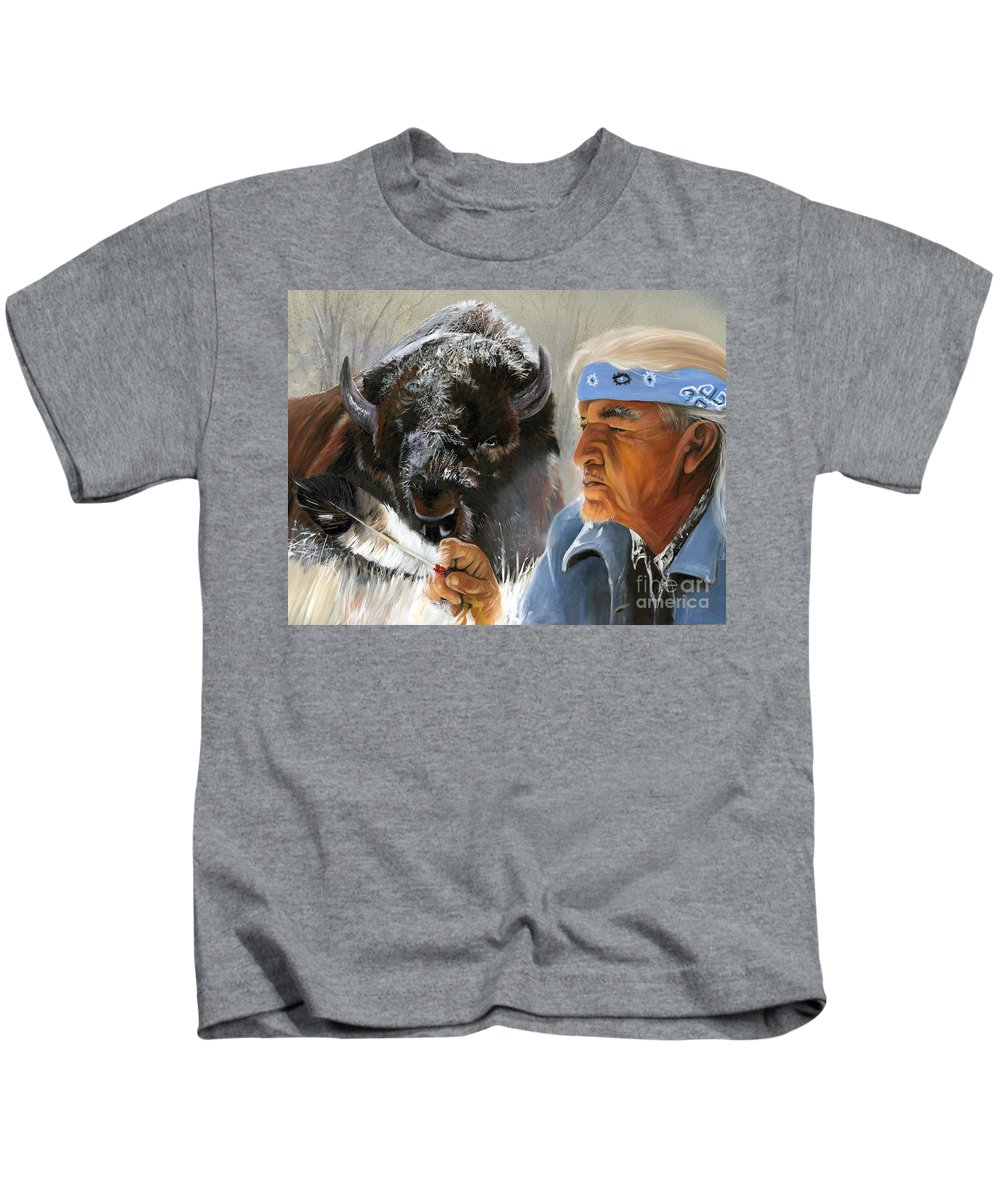 Southwest Art Kids T-Shirt featuring the painting Nothing Is Ever Forgotten by J W Baker