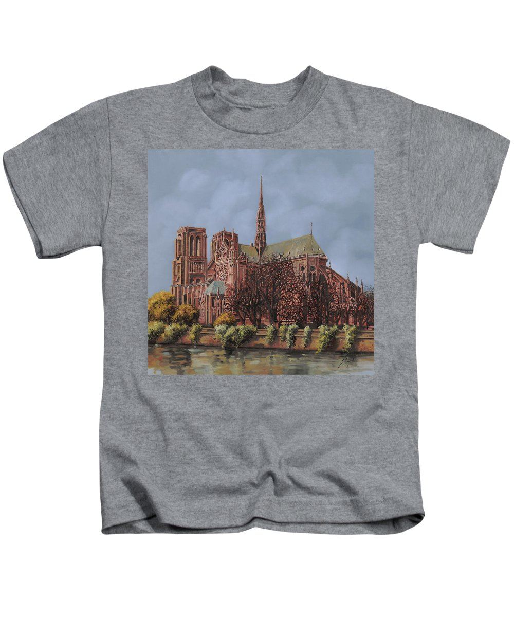 Paris Kids T-Shirt featuring the painting Notre-dame by Guido Borelli