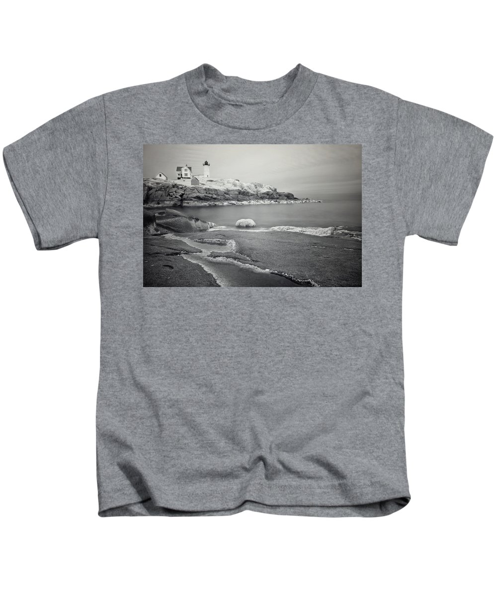 Cape Neddick Kids T-Shirt featuring the photograph Nubble Light Black And White by Luke Moore