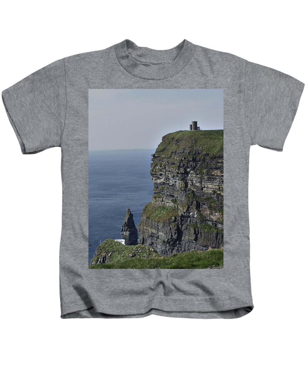 Irish Kids T-Shirt featuring the photograph O Brien's Tower At The Cliffs Of Moher Ireland by Teresa Mucha