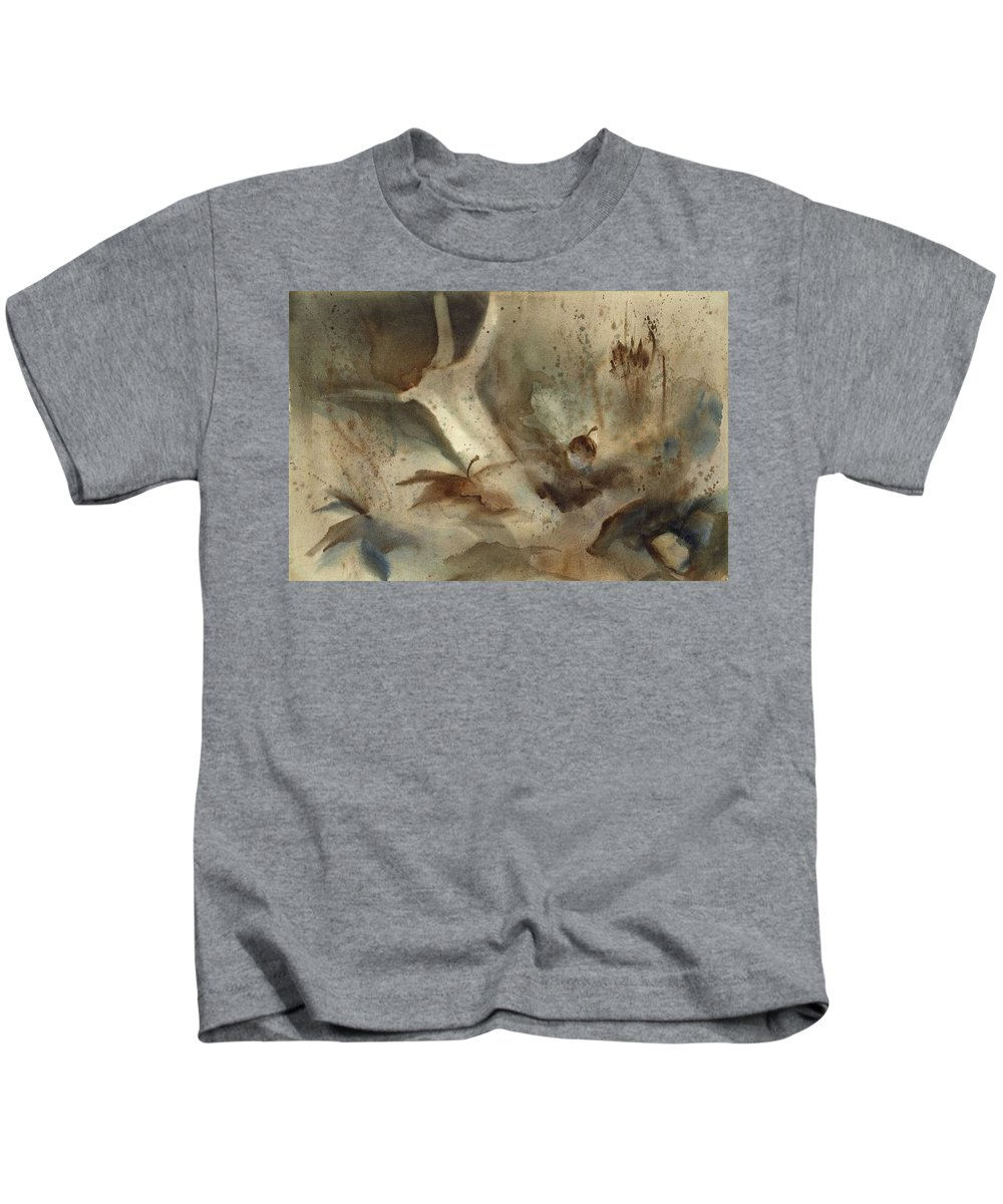 Kids T-Shirt featuring the painting Oak Branch And Acorn by Ellen Palmer Legacy Art