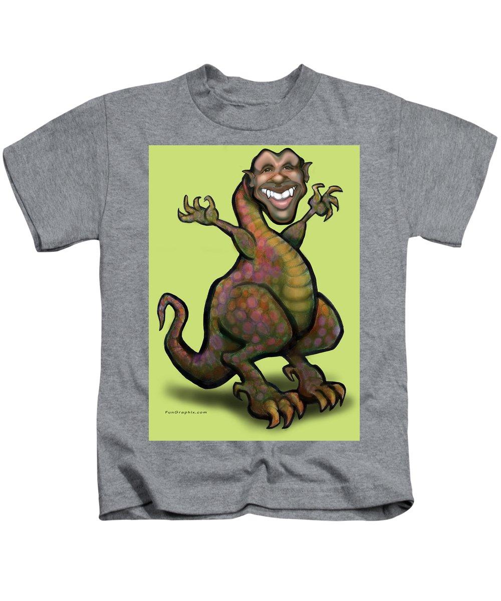 Barack Obama Kids T-Shirt featuring the greeting card Obama Saurus Rex by Kevin Middleton