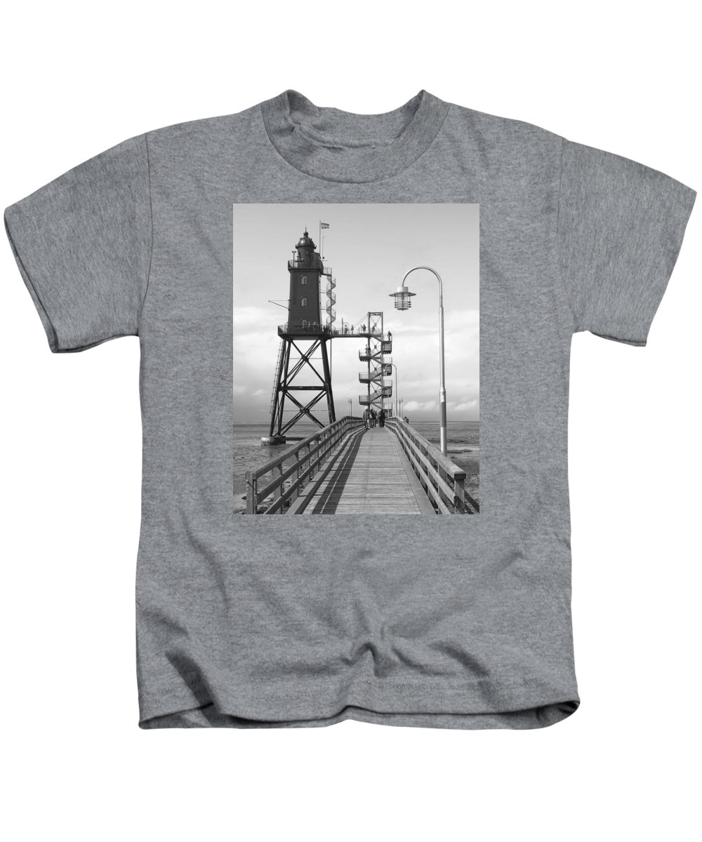Lighthouse Kids T-Shirt featuring the photograph Obereversand Lighthouse - North Sea - Germany by Daniel Hagerman
