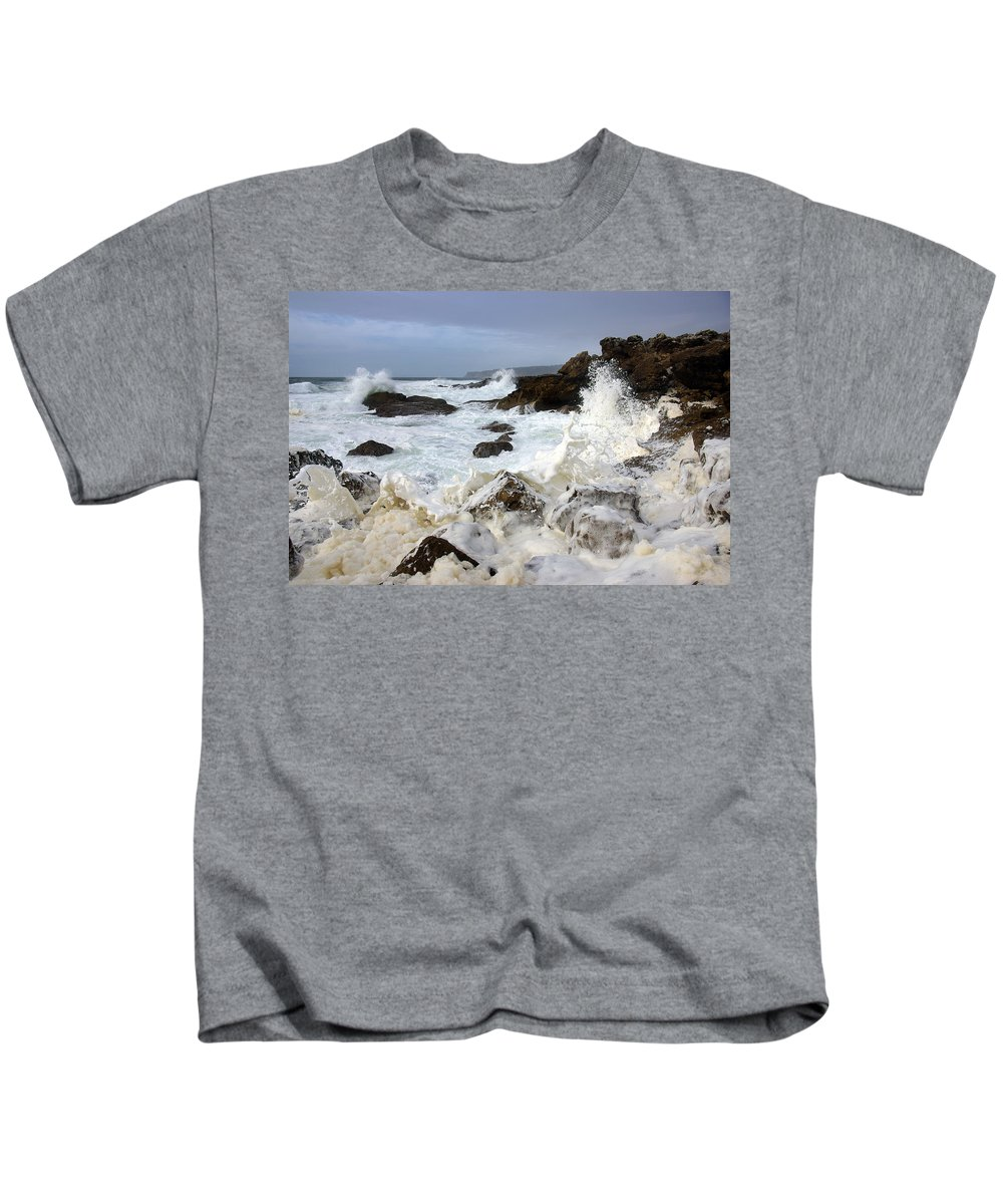 Background Kids T-Shirt featuring the photograph Ocean Foam by Carlos Caetano