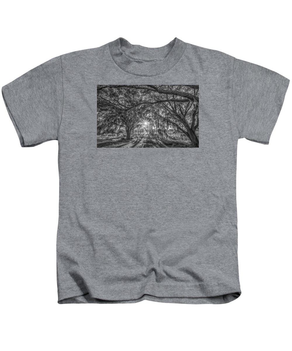 Black And White Sunrise Kids T-Shirt featuring the photograph Odessa Sunrise -black And White by Lance Raab