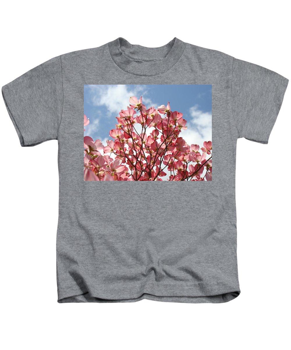 Office Kids T-Shirt featuring the photograph Office Art Prints Blue Sky Pink Dogwood Flowering 7 Giclee Prints Baslee Troutman by Baslee Troutman