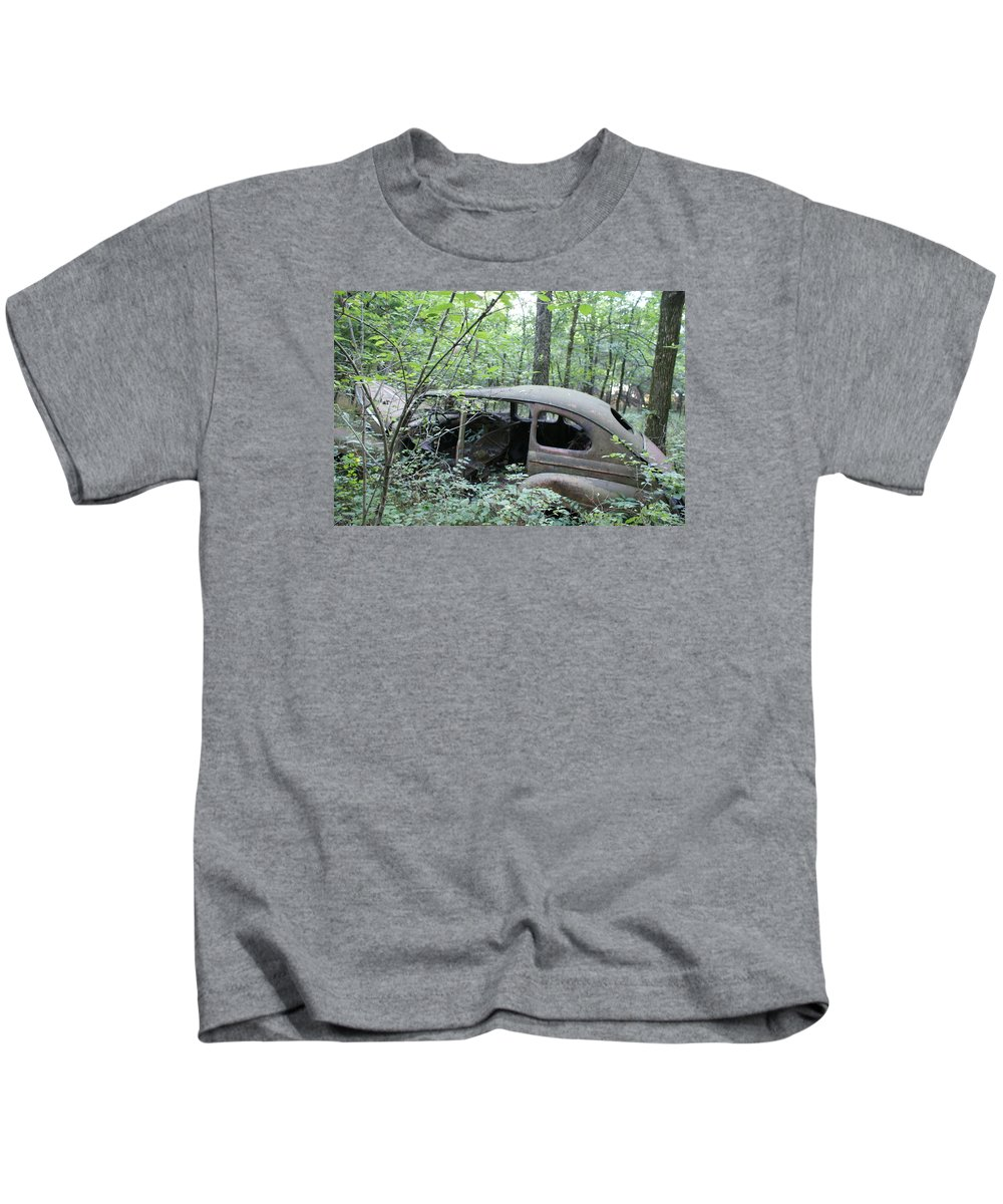 Abandoned Car Kids T-Shirt featuring the photograph Old abandoned car by Toni Berry