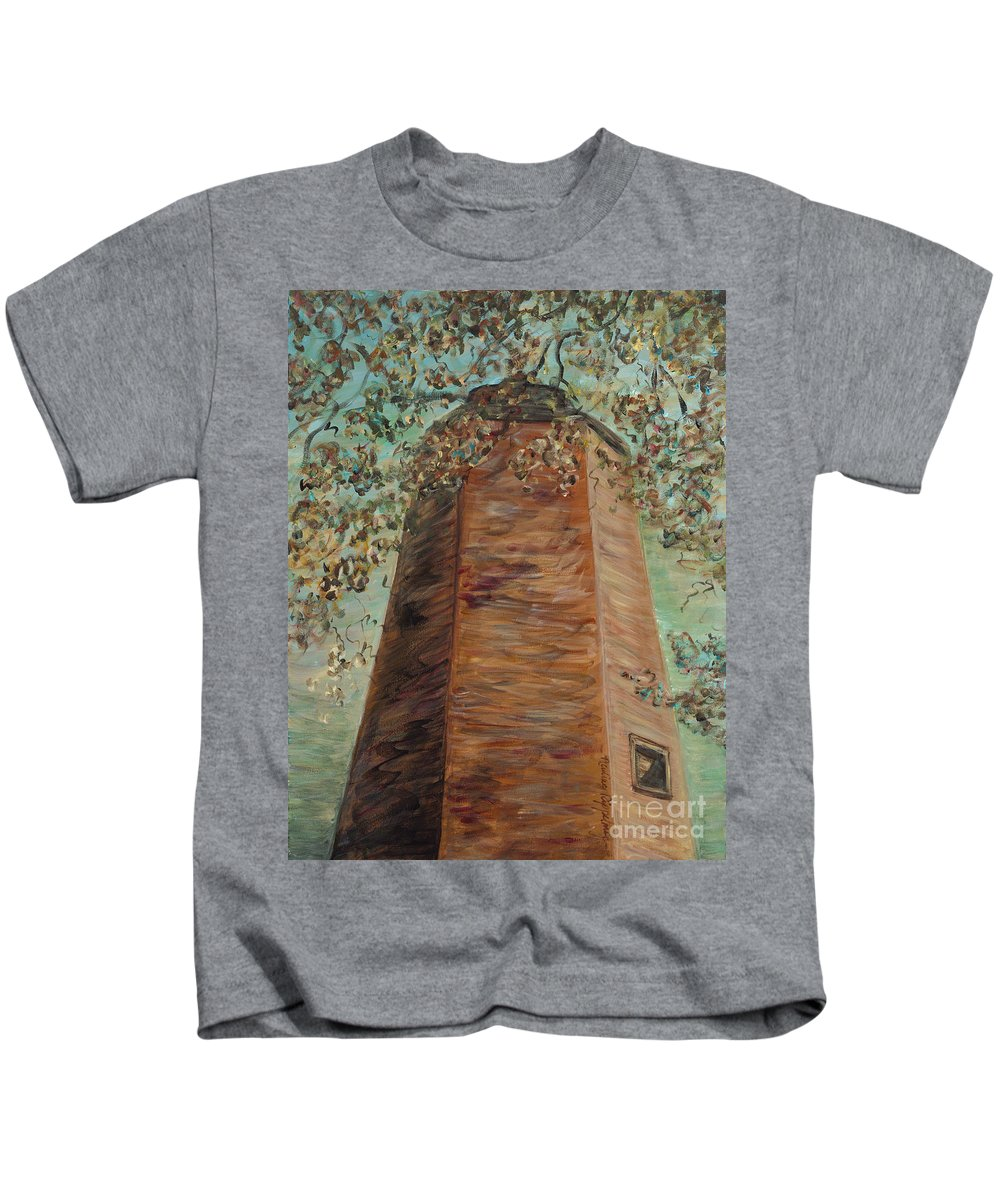 Old Baldy Kids T-Shirt featuring the painting Old Baldy Light House in Teal by Nadine Rippelmeyer