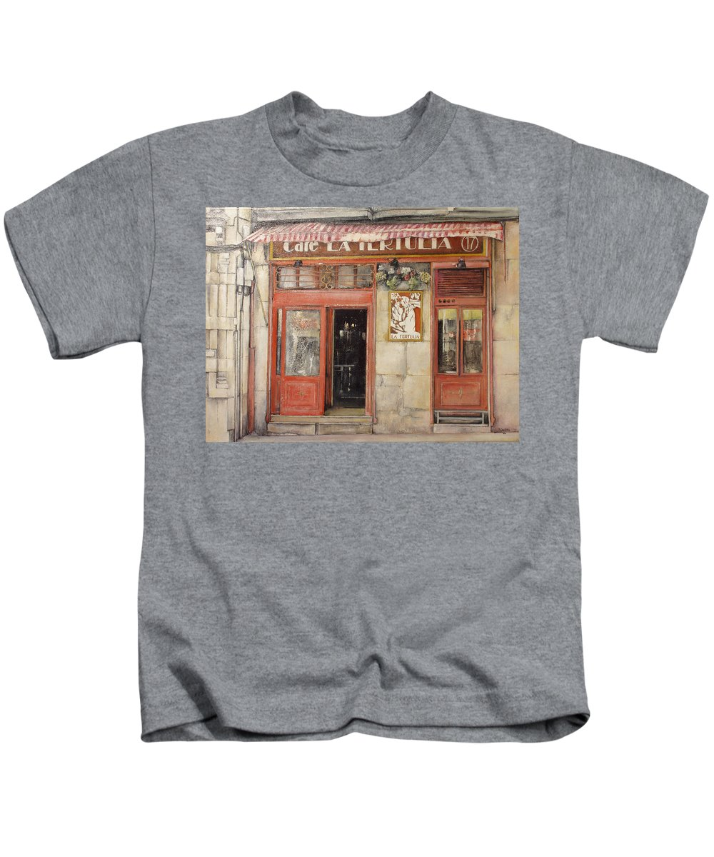 Cafe Kids T-Shirt featuring the painting Old Cafe- Santander Spain by Tomas Castano