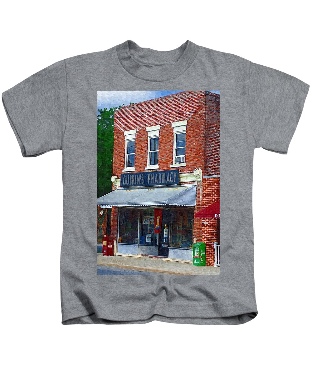 Old Buildings Kids T-Shirt featuring the photograph Old Guerins Pharmacy by Donna Bentley