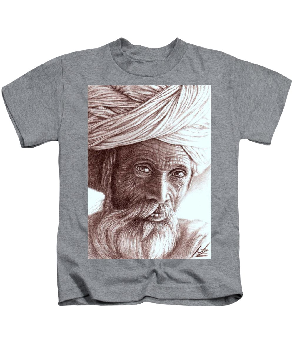 Man Kids T-Shirt featuring the drawing Old Indian Man by Nicole Zeug