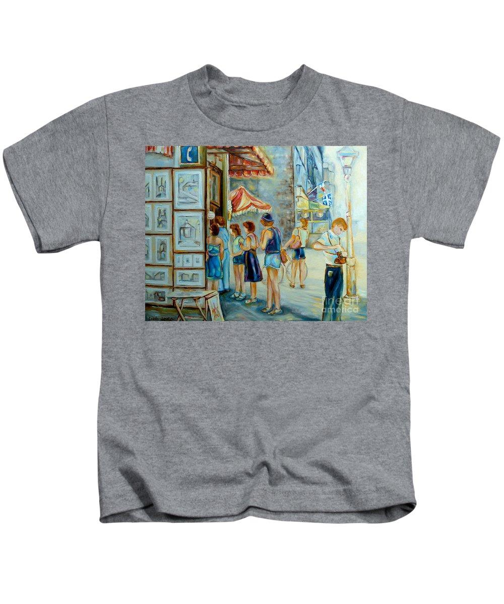 Old Montreal Street Scene Kids T-Shirt featuring the painting Old Montreal Street Scene by Carole Spandau