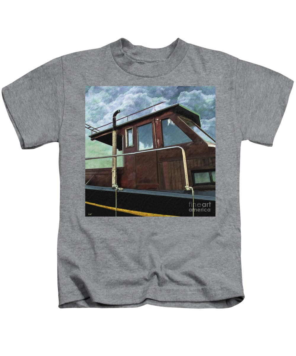 Old Wood Boat Kids T-Shirt featuring the drawing Old Wood Boat by L Wright