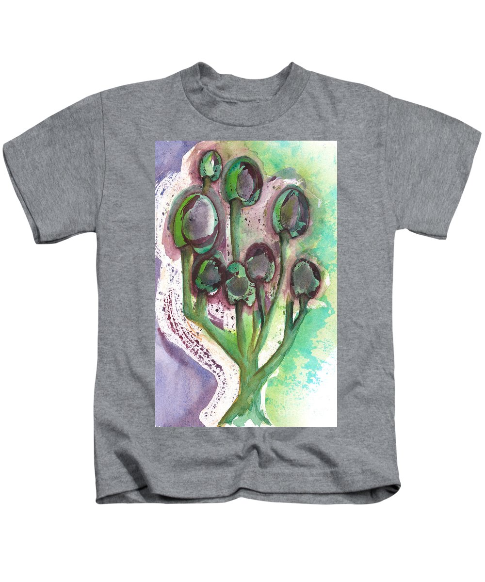 Olives Kids T-Shirt featuring the mixed media Olive Branches by Paulette Boudreau