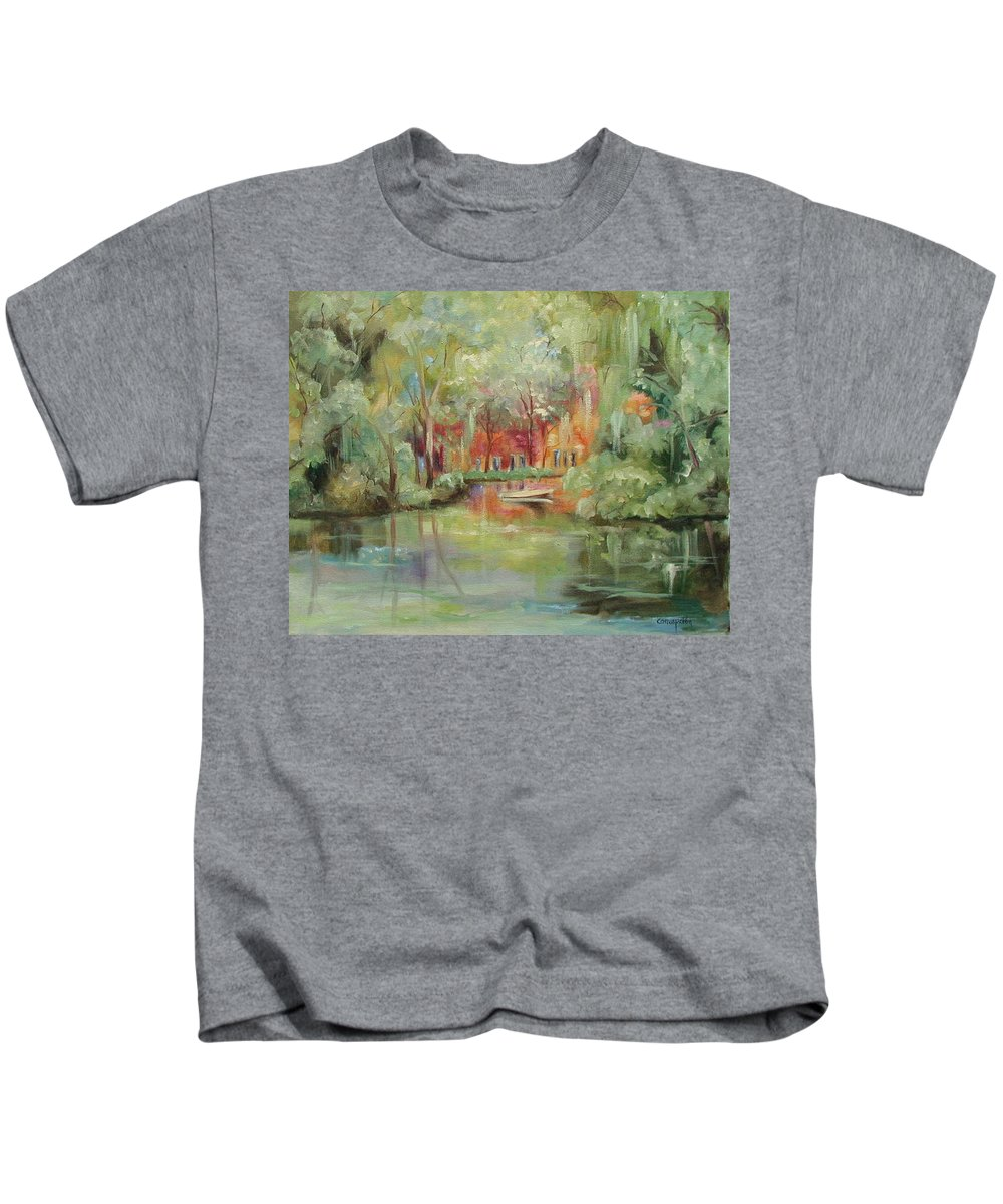 Bayou Kids T-Shirt featuring the painting On A Bayou by Ginger Concepcion