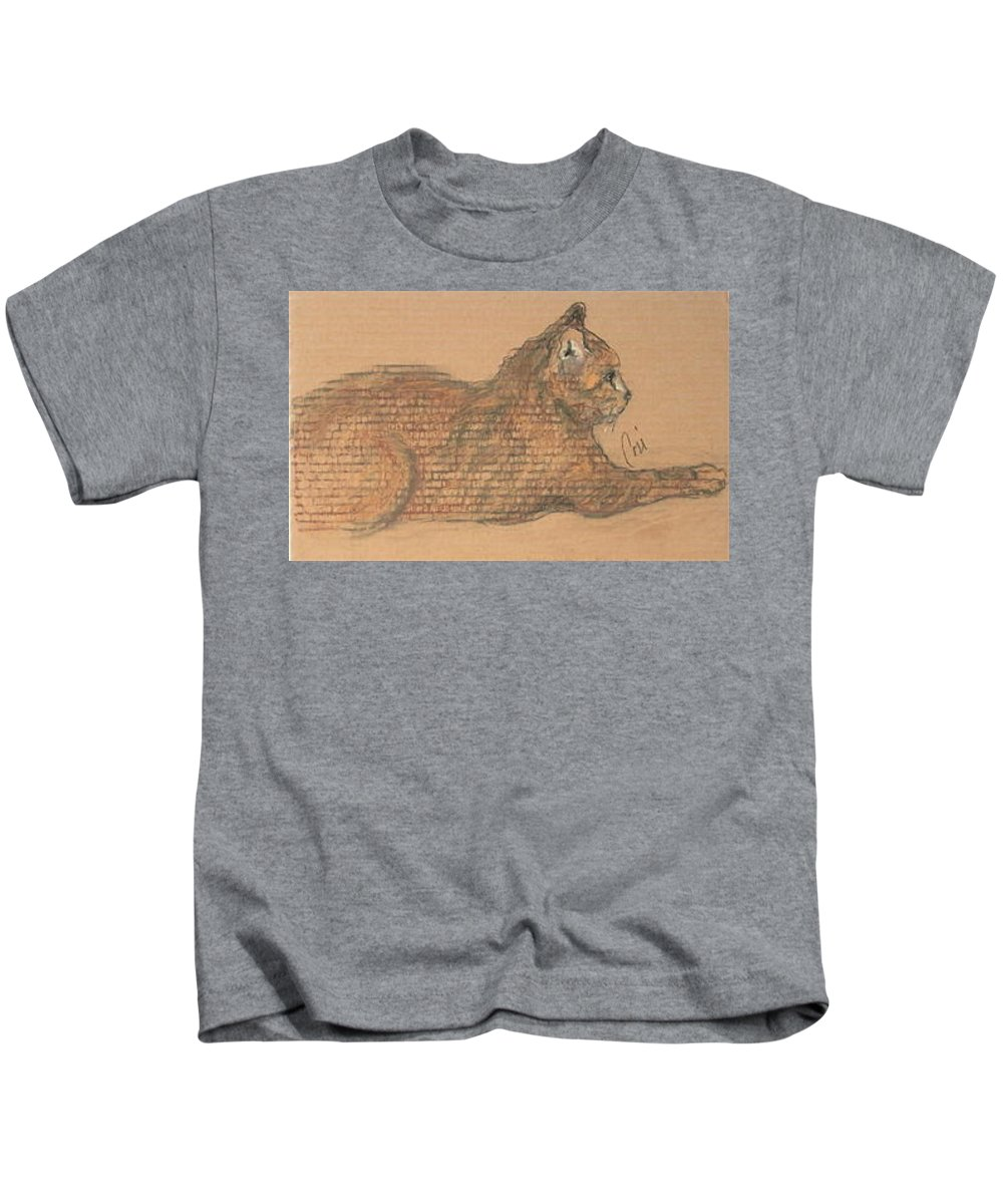 Cat Kids T-Shirt featuring the drawing On Point by Cori Solomon