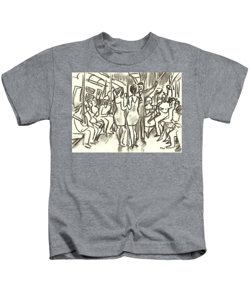 Subway Kids T-Shirt featuring the drawing On The A, New York City Subway Drawing by Thor Wickstrom