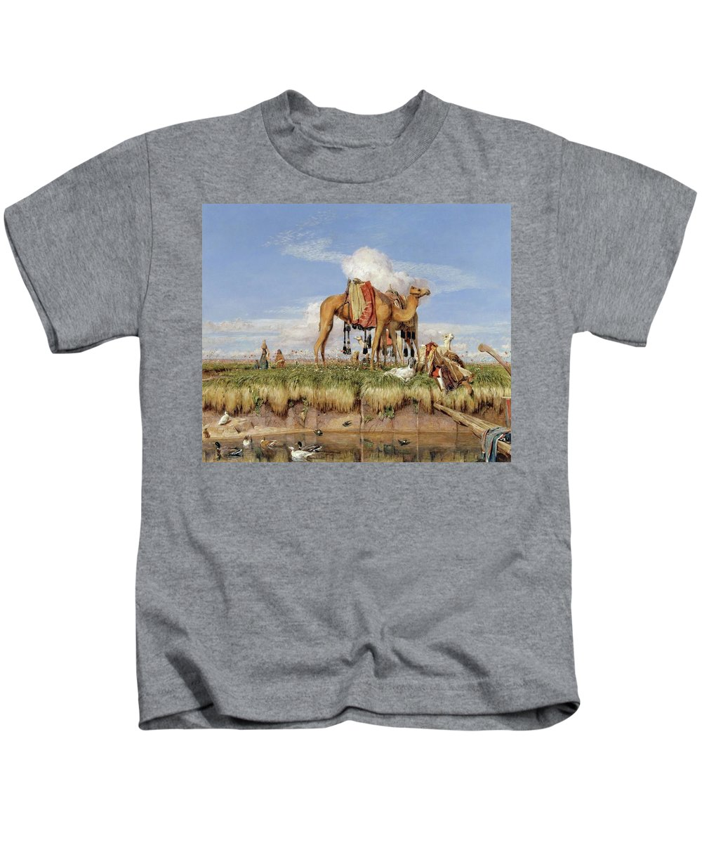 John Frederick Lewis - On The Banks Of The Nile Kids T-Shirt featuring the painting On The Banks Of The Nile by John Frederick