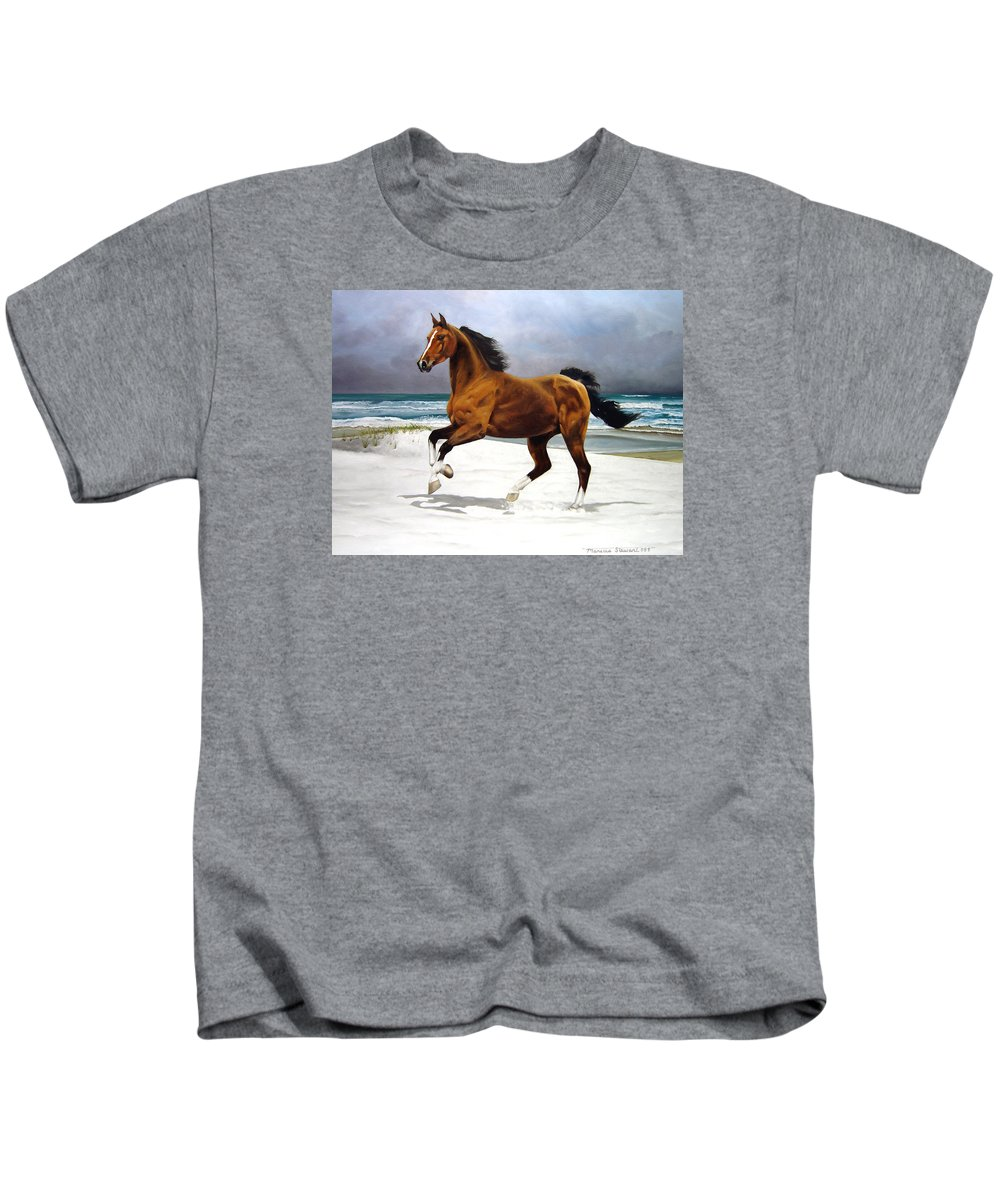 Horse Kids T-Shirt featuring the painting On The Beach by Marc Stewart