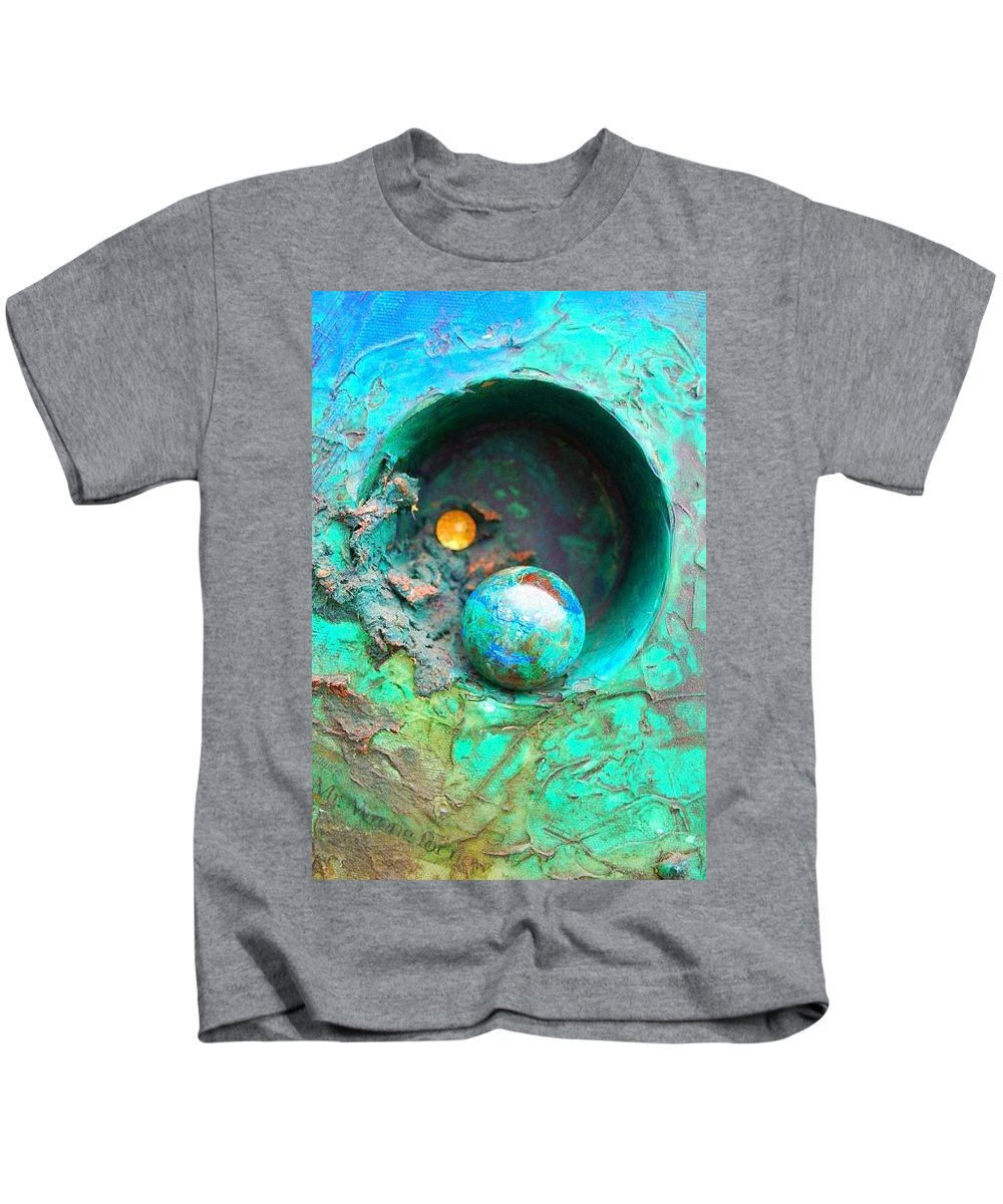 Texture Kids T-Shirt featuring the mixed media On The Edge by Sofanya White