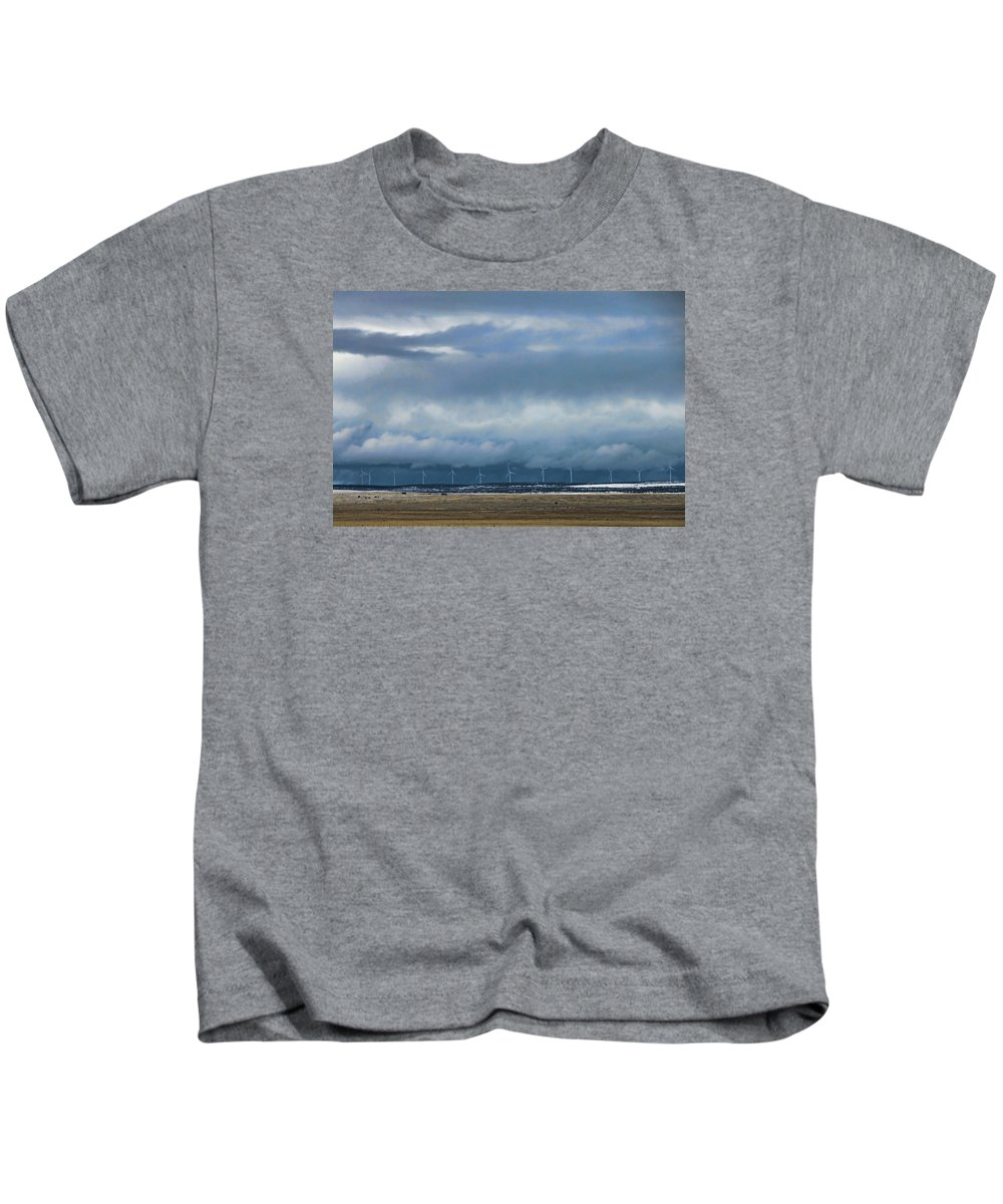 Windmills Kids T-Shirt featuring the photograph On The Horizon by David Arment