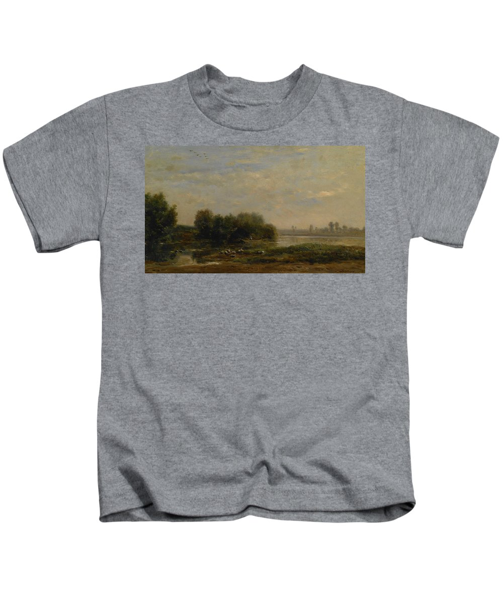 French Art Kids T-Shirt featuring the painting On The Oise by Charles Francois Daubigny