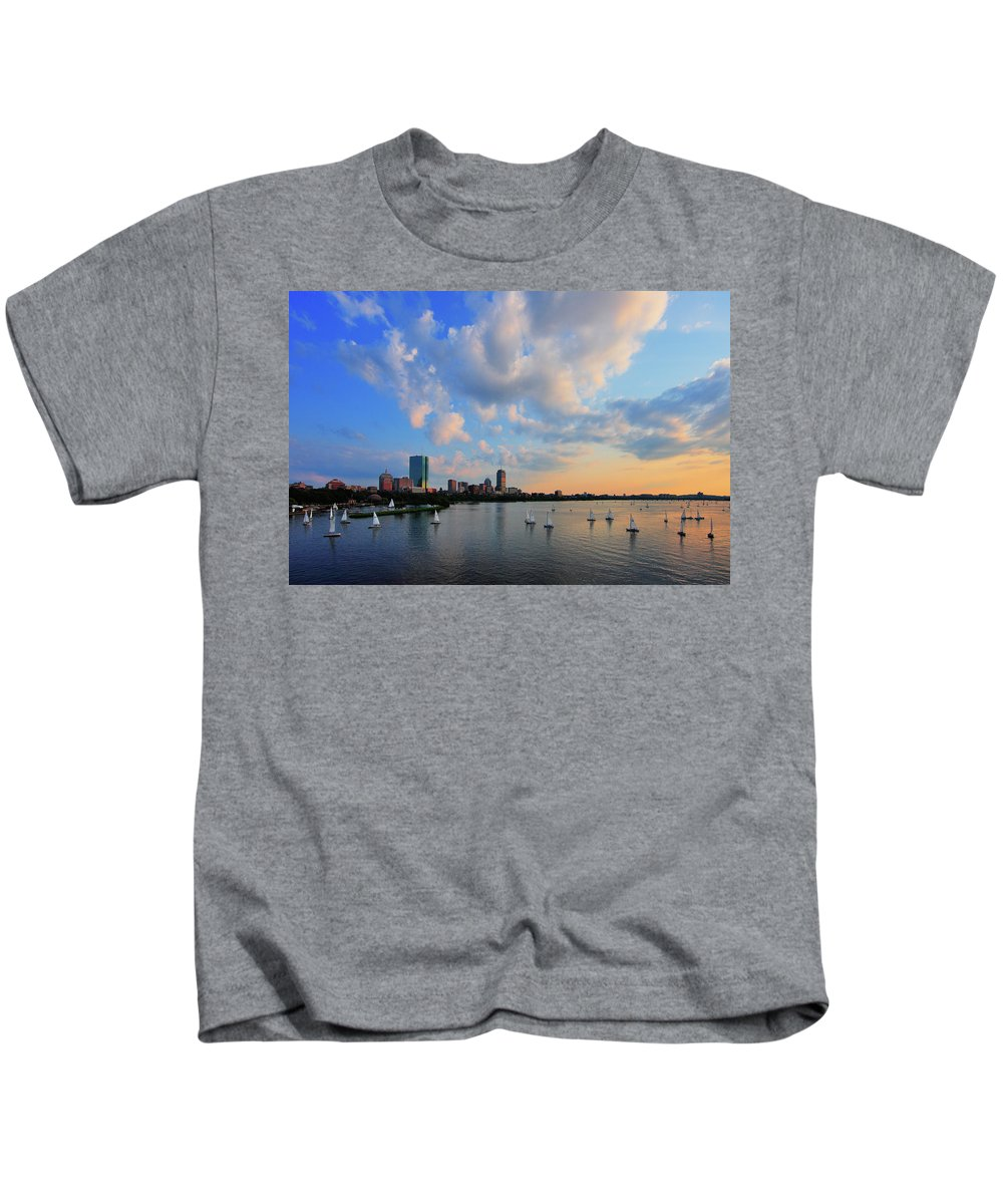 Longfellow Bridge Kids T-Shirt featuring the photograph On The River by Rick Berk