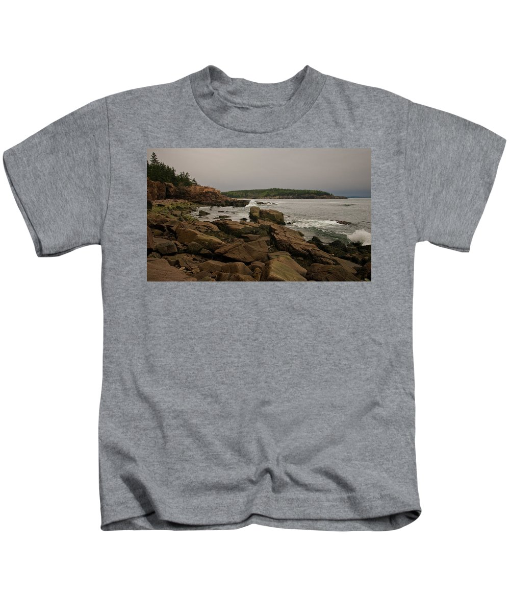 rocky Shores Of Acadia Kids T-Shirt featuring the photograph On The Shore by Paul Mangold
