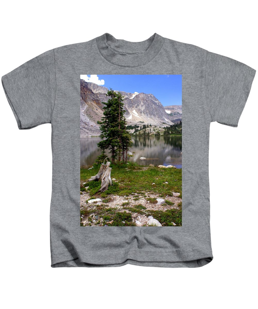Snowy Mountains Kids T-Shirt featuring the photograph On The Snowy Mountain Loop by Marty Koch