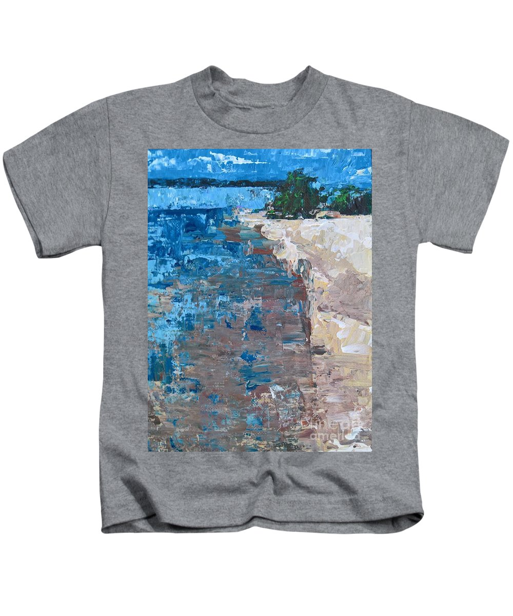 Acrylic Painting Kids T-Shirt featuring the painting On Traverse Bay by Lisa Dionne