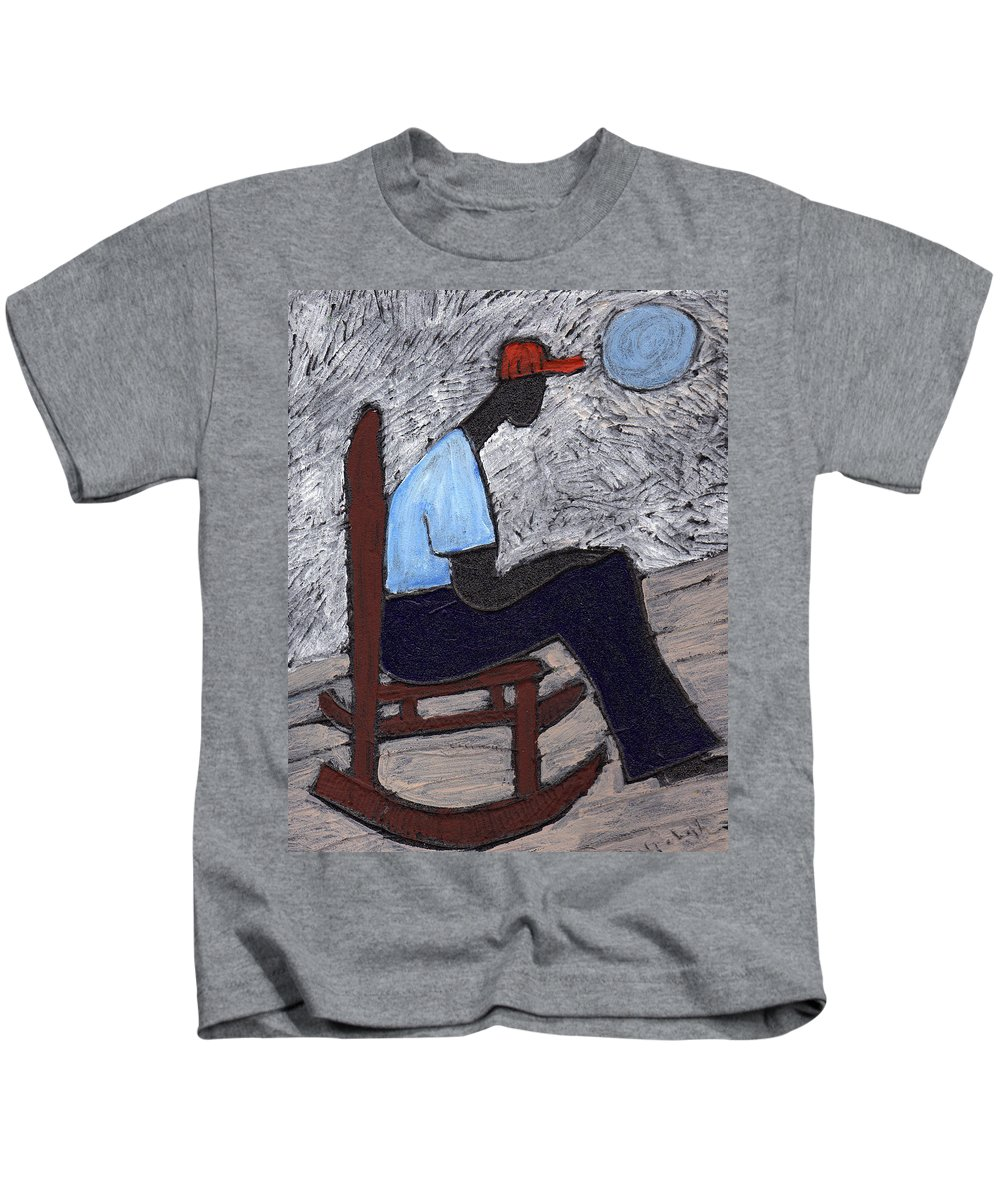 Rocking Chair Kids T-Shirt featuring the painting Once In A Blue Moon by Wayne Potrafka