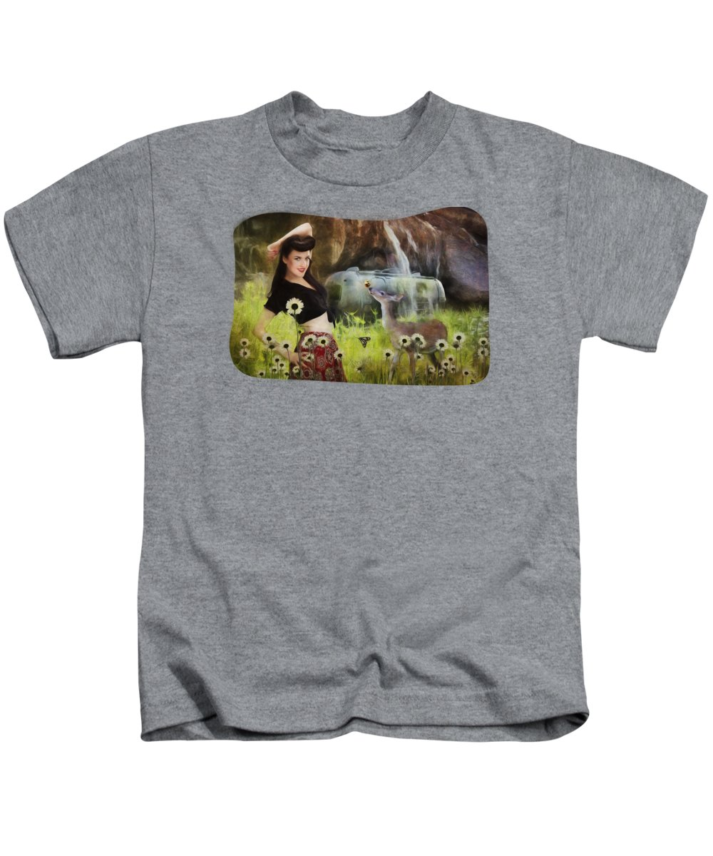 Nature Kids T-Shirt featuring the digital art Once Upon A Meadow by Terry Fleckney