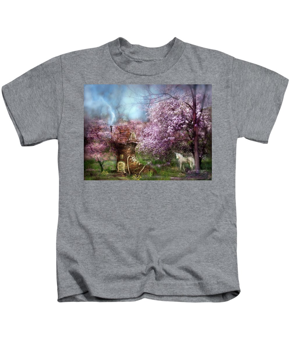 Unicorn Kids T-Shirt featuring the mixed media Once Upon A Springtime by Carol Cavalaris