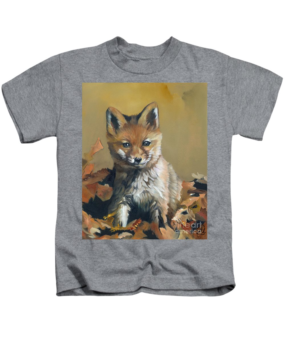 Fox Kids T-Shirt featuring the painting Once Upon A Time by J W Baker