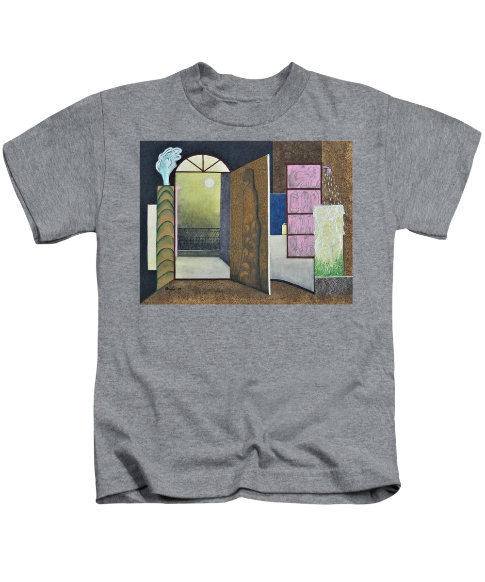 Romantic Kids T-Shirt featuring the painting One Moonlit Night- J-16 by Raju Bose