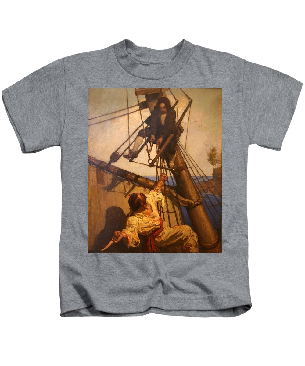 Pirate Kids T-Shirt featuring the painting One More Step Mr. Hands - N.c. Wyeth Painting by PaintingAssociates