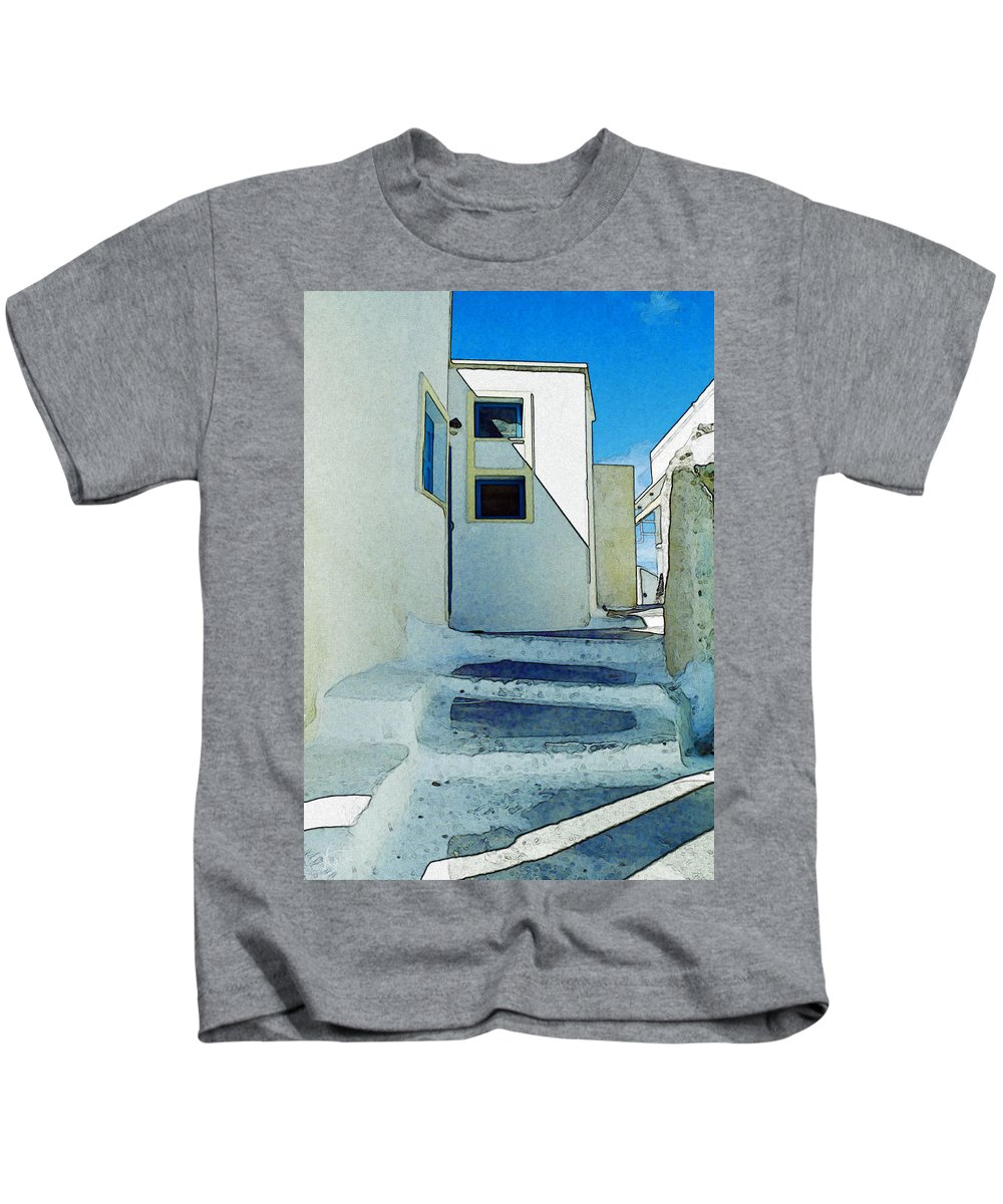 Greece Kids T-Shirt featuring the painting One Of The Streets Of Santorini by Alex Galkin