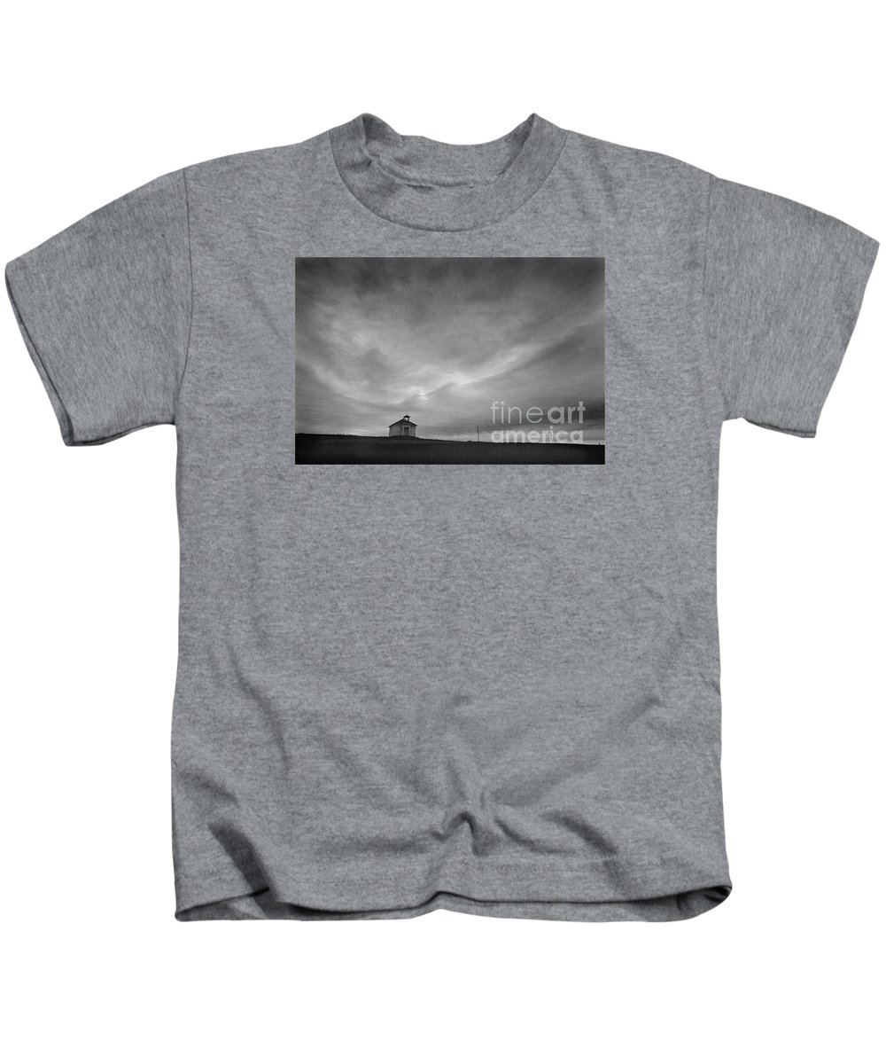 Landscape Kids T-Shirt featuring the photograph One Room Schoolhouse by Michael Ziegler