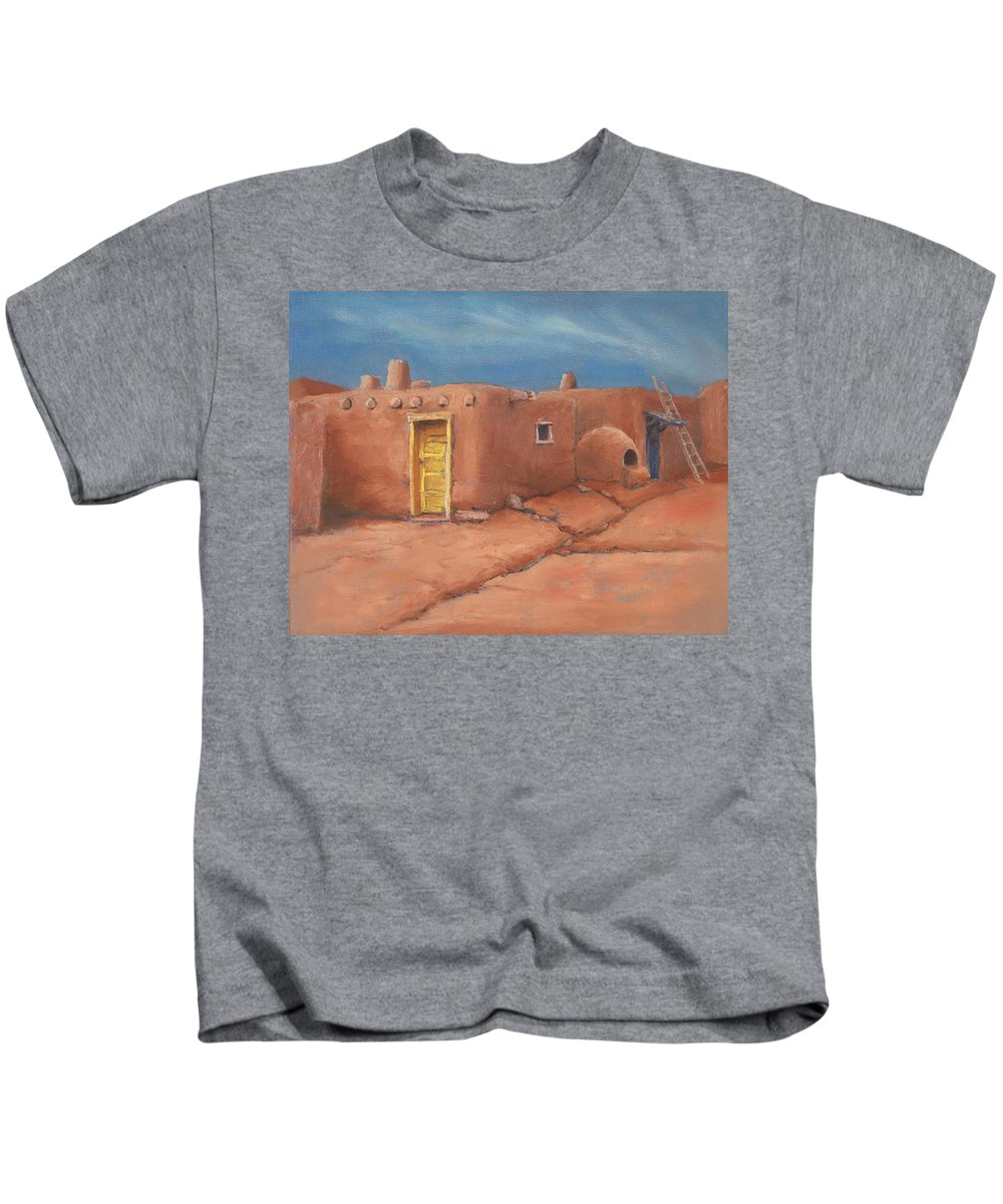 Taos Kids T-Shirt featuring the painting One Yellow Door by Jerry McElroy