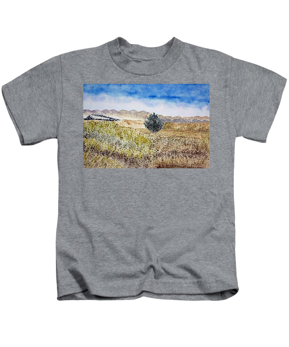 Desert Art Kids T-Shirt featuring the painting Onyo National Forest by Larry Wright