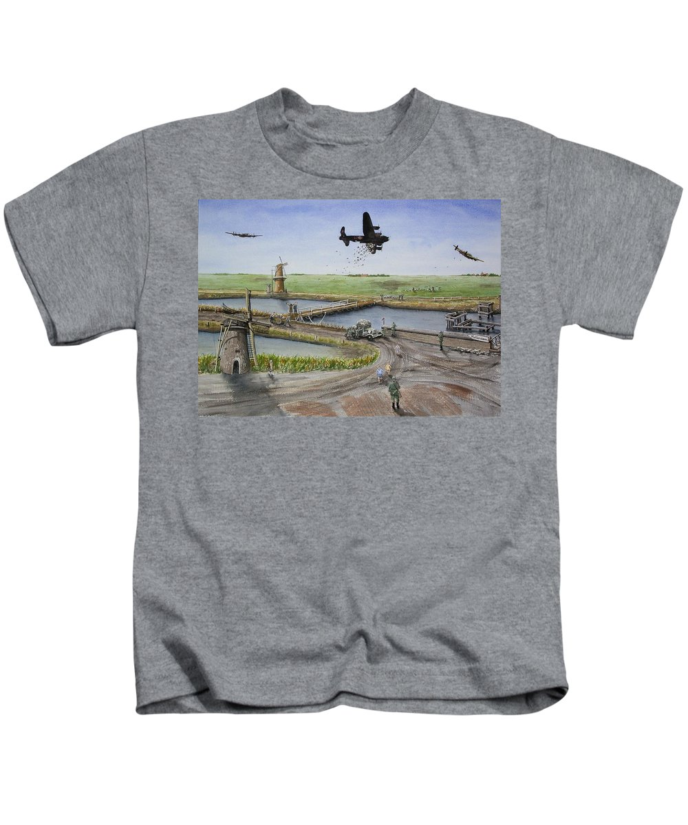 Lancaster Bomber Kids T-Shirt featuring the painting Operation Manna IIi by Gale Cochran-Smith
