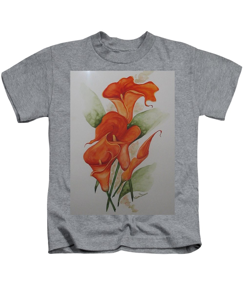 Floral Orange Lily Kids T-Shirt featuring the painting Orange Callas by Karin Dawn Kelshall- Best