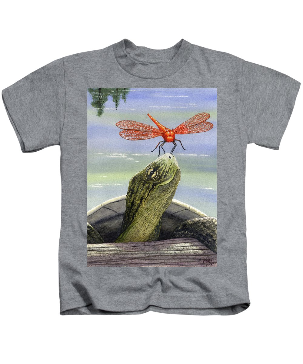 Dragonfly Kids T-Shirt featuring the painting Orange Dragonfly by Catherine G McElroy
