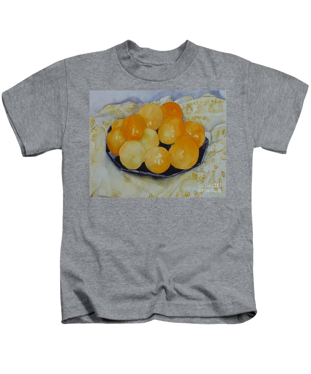 Still Life Watercolor Original Leilaatkinson Oranges Kids T-Shirt featuring the painting Oranges by Leila Atkinson