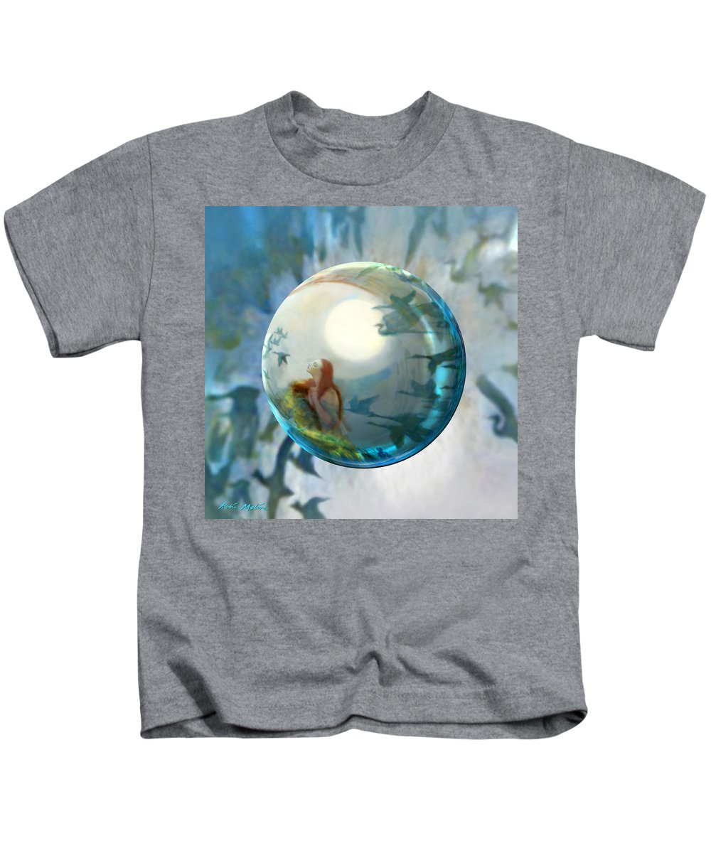 Geese Kids T-Shirt featuring the painting Orbital Flight by Robin Moline
