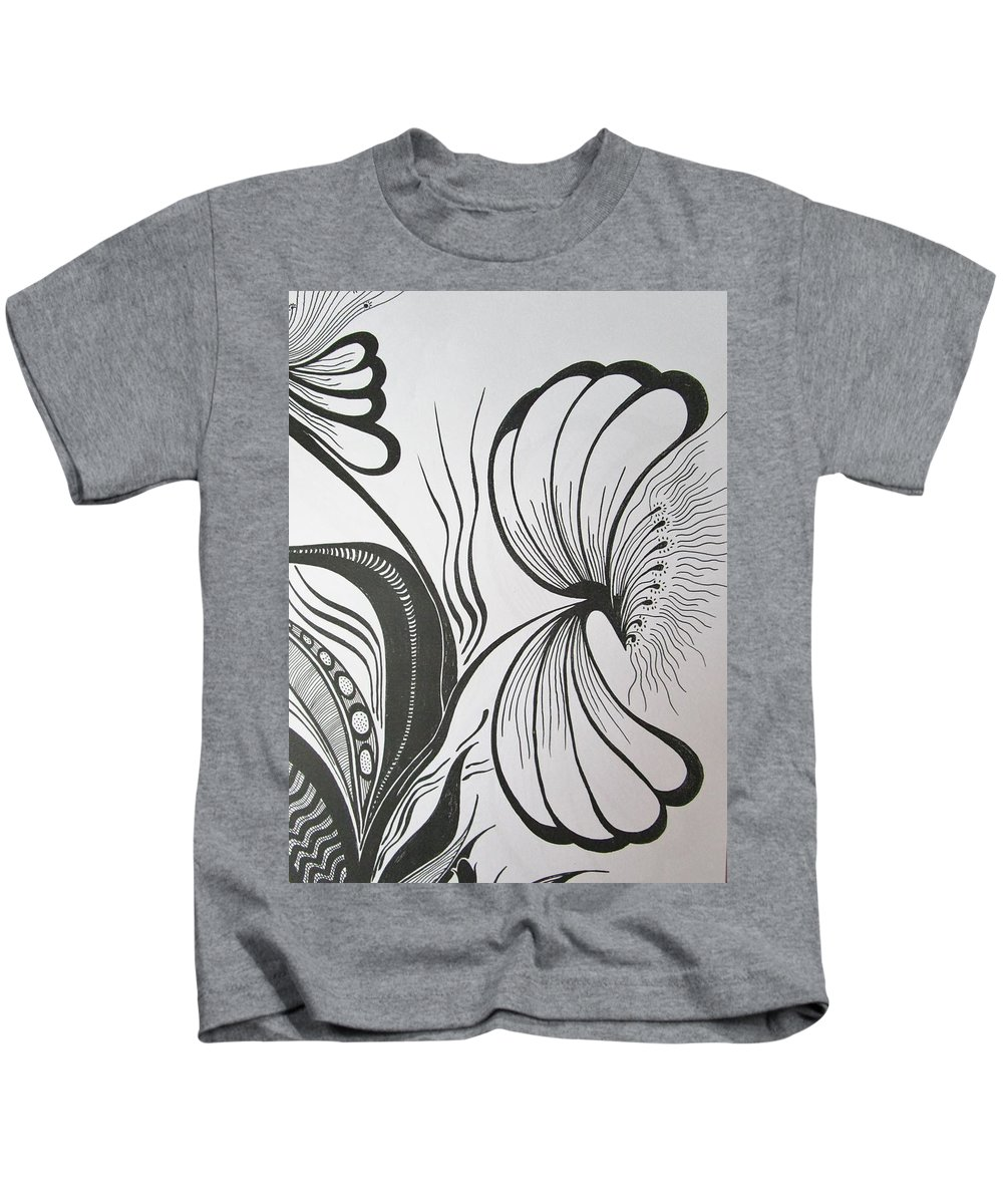 Design Kids T-Shirt featuring the drawing Organza Bloom by Rosita Larsson