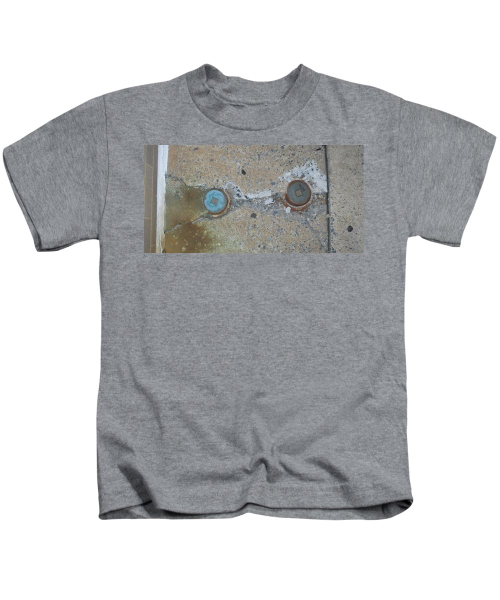 Photograph Kids T-Shirt featuring the photograph Original Damaged Pipes by Thomas Valentine