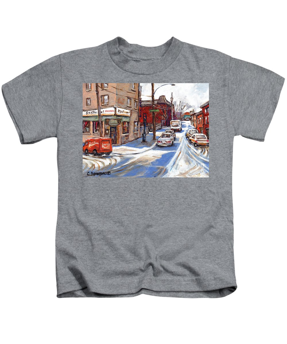 Restaurant Machiavelli Art Kids T-Shirt featuring the painting Original Montreal Paintings For Sale Tableaux De Montreal A Vendre Pointe St Charles Scenes by Carole Spandau