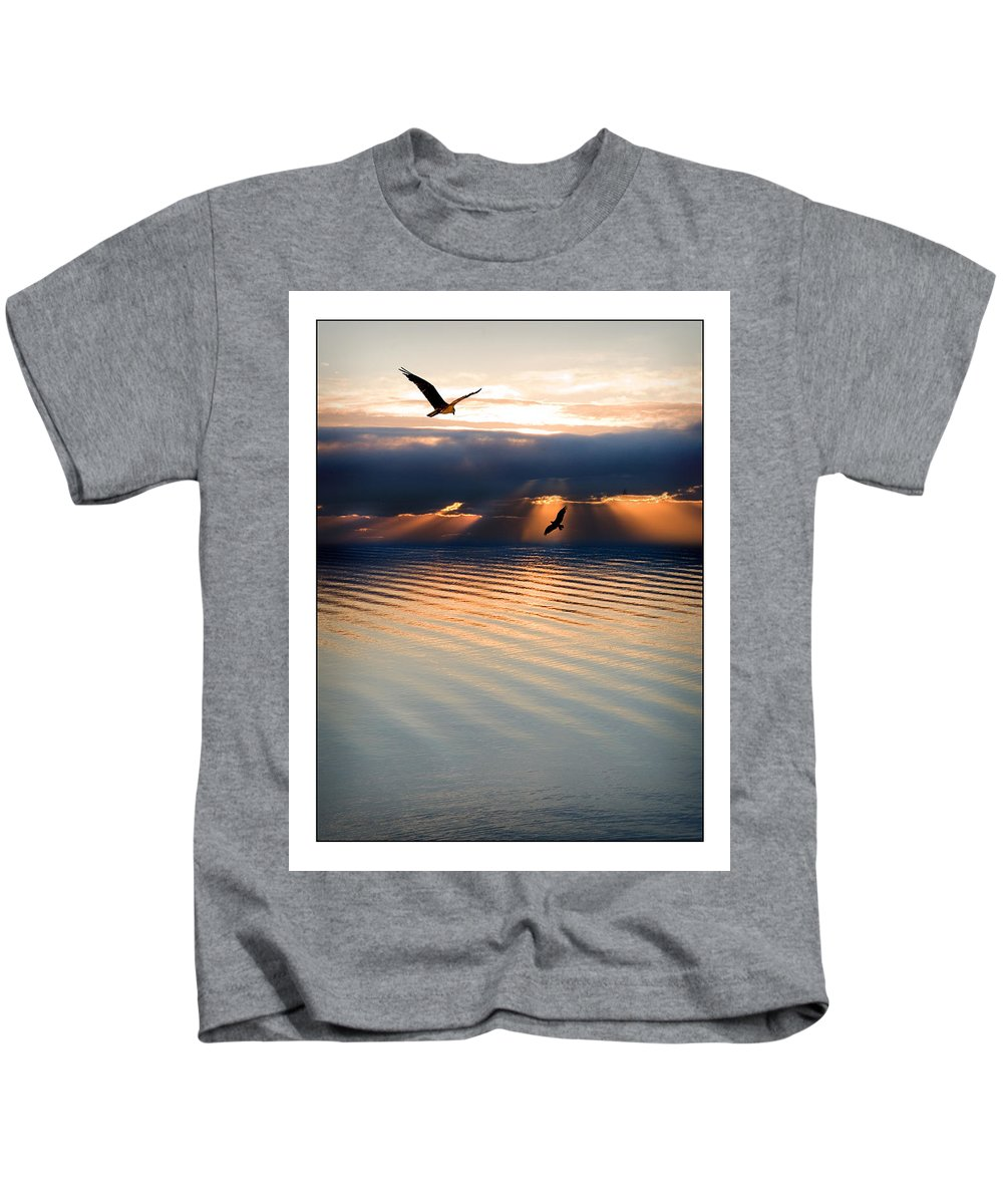 Osprey Kids T-Shirt featuring the photograph Ospreys by Mal Bray